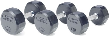 12 Sided Virgin Rubber Dumbbells