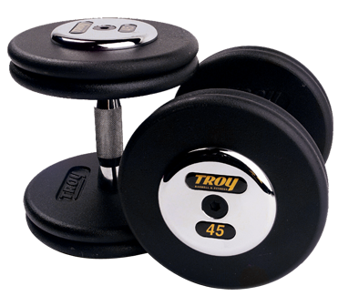 Black Pro Style Dumbbells w/ Chrome Caps
