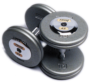 Gray Pro Style Dumbbells w/ Chrome Caps