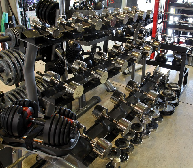We carry several styles of Adjustable Dumbbells, including Bowflex 1090 and StairMaster