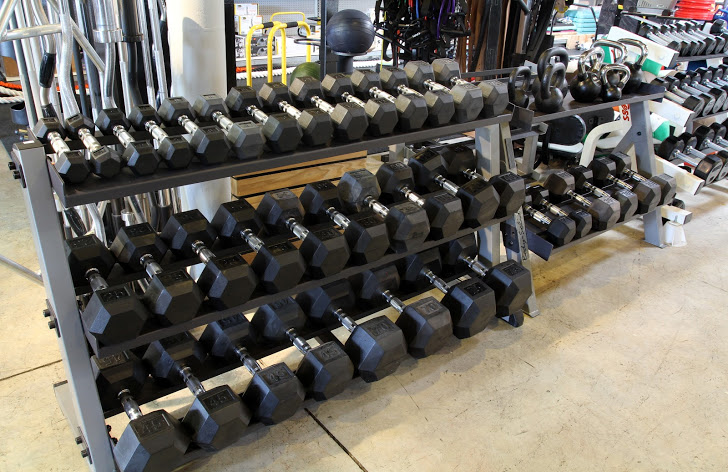 Rubber Hex Dumbbells are our Most Popular Dumbbells, but We Carry a Large Variety of Free Weights.